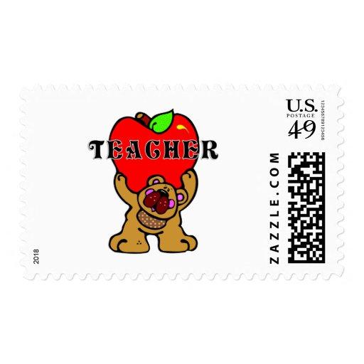 Teacher Apple Bear Stamps