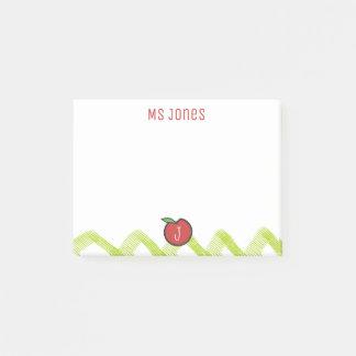 Teacher Apple Custom Name Monogram Post-it® Notes