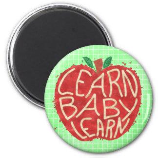 Teacher Apple Learn Baby Learn School Typography Magnet
