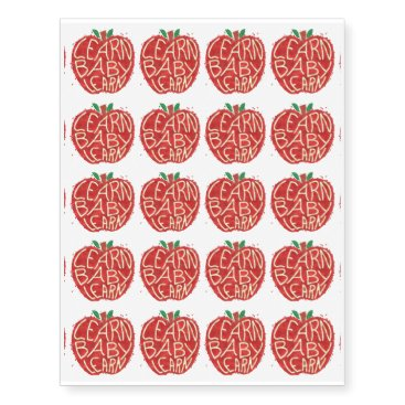 Toddler & Baby themed Teacher Apple Learn Baby Learn School Typography Temporary Tattoos