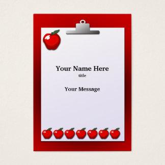 Teacher Apples Clipboard Chubby Business Card