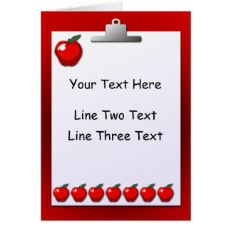 Teacher Apples Clipboard Greeting Card