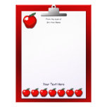 Teacher Apples Clipboard Letterhead Stationery