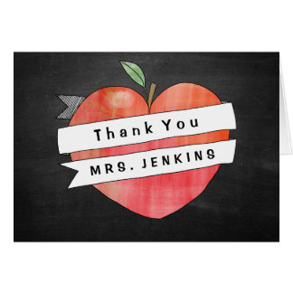 Teacher Appreciation Apple Heart Thank You Card