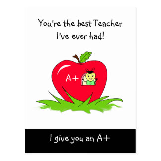 Teacher Appreciation Best Teacher Bug In Apple Postcard