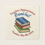 "Teacher Appreciation Breakfast Retirement Party Napkin<br><div class=""desc"">Design features an original marker illustration of a stack of leather-bound library books. Ideal for a teacher appreciation breakfast or retirement party. This library book illustration is also available on other products. Don&#39;t see what you&#39;re looking for? Need help with customization? Contact Rebecca to have something designed just for you....</div>"