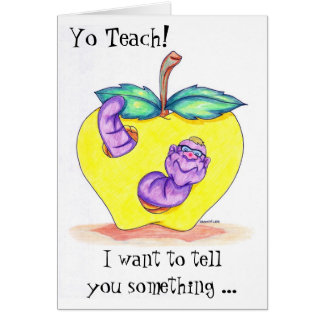 Teacher Appreciation Card with Apple and Worm
