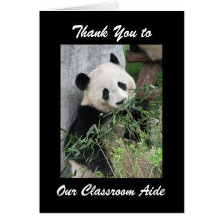 Teacher Appreciation Day Aide Greeting Panda Black Card