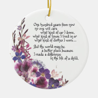 Teacher Appreciation Gift Double-Sided Ceramic Round Christmas Ornament