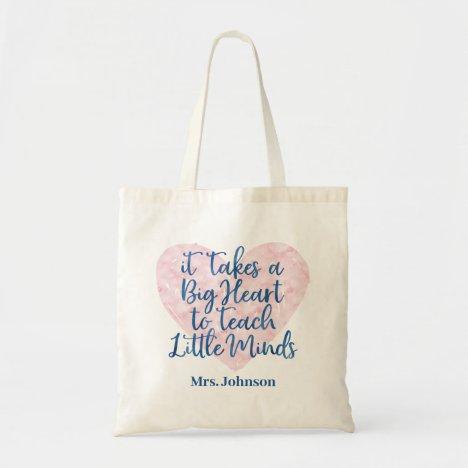 Teacher Appreciation Gift | Pink & Blue Watercolor Tote Bag