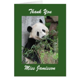 Teacher Appreciation Personalized Panda Green Card