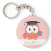 Teacher Appreciation, Pink Owl Keychain