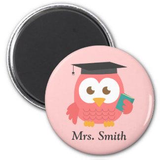 Teacher Appreciation, Pink Wise Owl 2 Inch Round Magnet