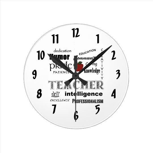 Teacher Appreciation+Red Apple Round Clock