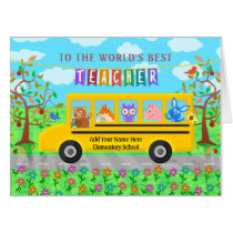 Teacher Appreciation Thank You | Cute Bus Animals Card