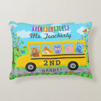 Teacher Appreciation Thank You | Cute Bus Animals Decorative Pillow