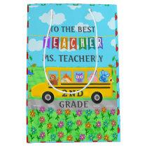 Teacher Appreciation Thank You | Cute Bus Animals Medium Gift Bag