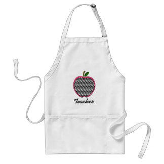 Teacher Apron-Houndstooth Apple With Pink Trim Adult Apron