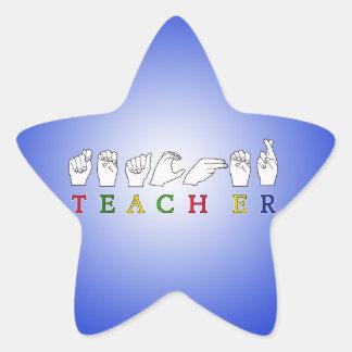 TEACHER ASL SIGN LANGUAGE FINGERSPELLED STAR STICKER
