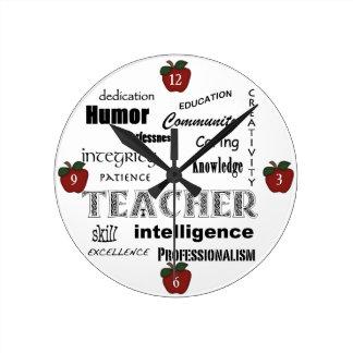 Teacher Attributes+Red Apples Round Clock