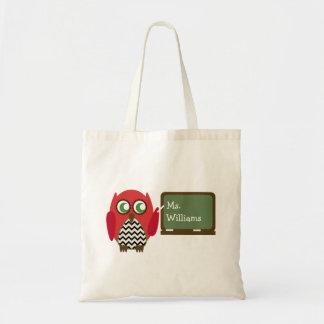 Teacher Bag - Black Chevron Red Owl At Chalkboard