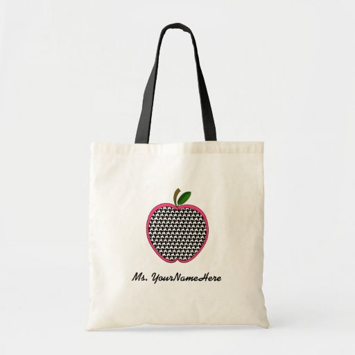 Teacher Bag - Houndstooth and Pink Apple