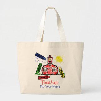 Teacher Bag - Schoolhouse and Crayons