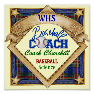 Teacher Baseball Coach Sign - Door Poster - SRF