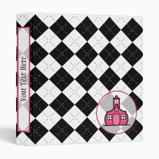 Teacher Binder - Black Argyle & Hot Pink