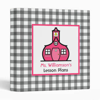 Teacher Binder - Gray Gingham & Pink