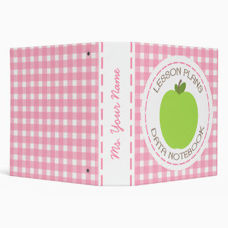 Teacher Binder - Green Apple Pink Gingham Lessons