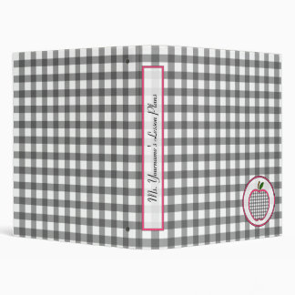 Teacher Binder - Grey Gingham Apple