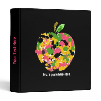 Teacher Binder - Multi Color Paint Splatter Apple