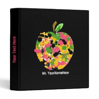 Teacher Binder - Multi Color Paint Splatter Apple