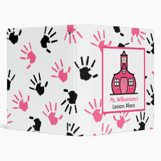 Teacher Binder - Pink & Black Handprints