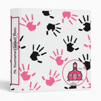 Teacher Binder - Pink & Black Handprints