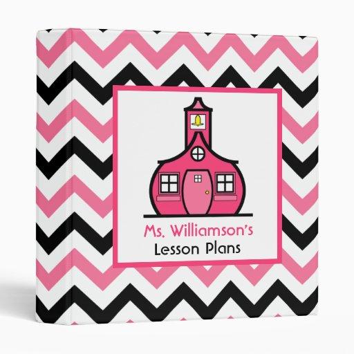 Teacher Binder - Pink & Black Zigzag