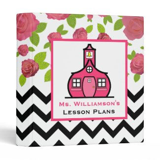 Teacher Binder - Pink Floral & Black Zigzag