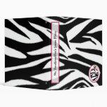Teacher Binder - Zebra Print Apple