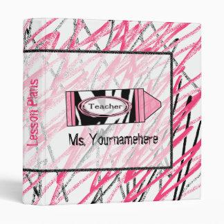 Teacher Binder - Zebra Print Crayon