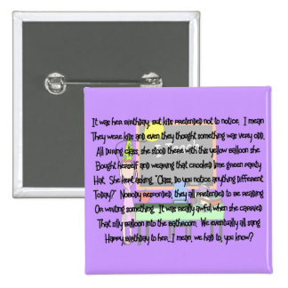 "Teacher Birthday Story Art Gifts ""Yellow Balloon"" 2 Inch Square Button"