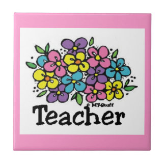 Teacher Blooms Small Square Tile