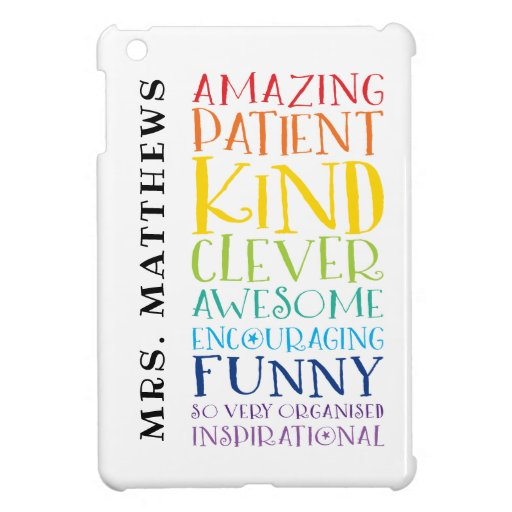 TEACHER bold colorful rainbow positive word stack Case For The iPad Mini