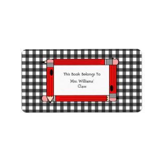 Teacher Bookplate - Gray Gingham & Red Pencils Personalized Address Labels