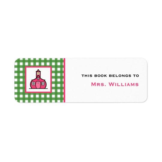 Teacher Bookplate - Green Gingham