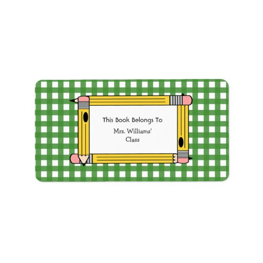 Teacher Bookplate - Green Gingham & Yellow Pencils