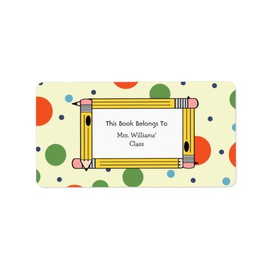 Teacher Bookplate - Polka Dots & Yellow Pencils