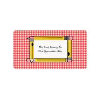 Teacher Bookplate - Red Gingham & Yellow Pencils Address Label