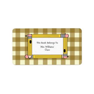 Teacher Bookplate - Tan Gingham & Yellow Pencils