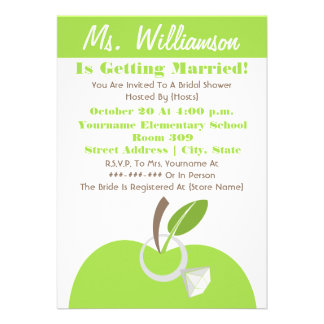 Teacher Bridal Shower Invite - Green Apple Ring